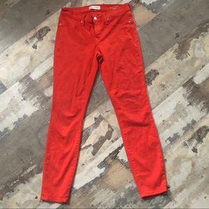 Henry & Belle coral red super skinny ankle pants